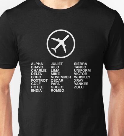 The Phonetic Alphabet with a picture of an airplane. Unisex T-Shirt