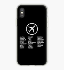 The Phonetic Alphabet with a picture of an airplane. iPhone Case