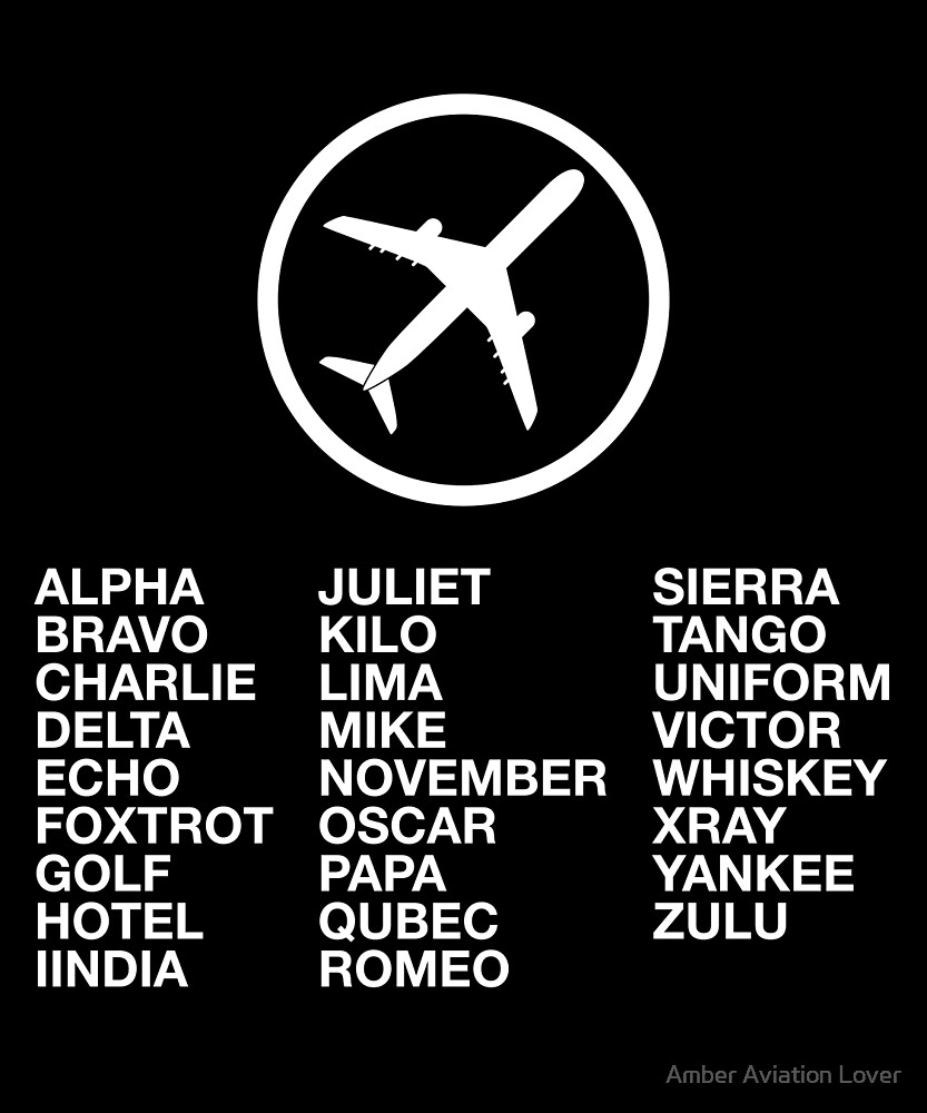 The Phonetic Alphabet with a picture of an airplane. by Amber Aviation Lover