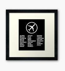 The Phonetic Alphabet with a picture of an airplane. Framed Print