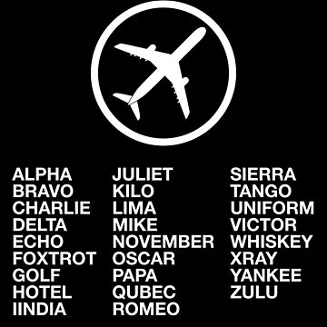 The Phonetic Alphabet with a picture of an airplane. by AviationMerch