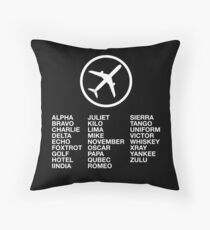 The Phonetic Alphabet with a picture of an airplane. Throw Pillow