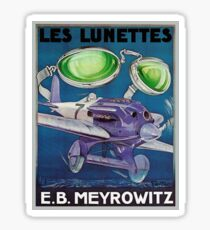 Vintage French optometrist advert, airplane, goggles Sticker