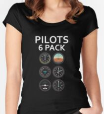 Pilots Six Pack Airplane Instruments Women's Fitted Scoop T-Shirt