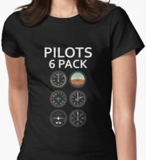 Pilots Six Pack Airplane Instruments Womens Fitted T-Shirt