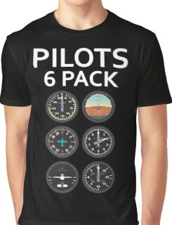Pilots Six Pack Airplane Instruments Graphic T-Shirt