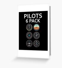 Pilots Six Pack Airplane Instruments Greeting Card