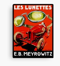 Vintage French optometrist advert, race car, goggles Canvas Print