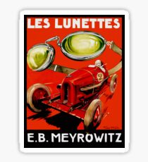 Vintage French optometrist advert, race car, goggles Sticker