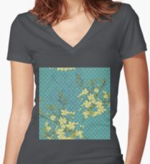 teal, yellow,floral,flowers,bush,mini polka dots, pattern,mint,modern,trendy,rustic,grunge Women's Fitted V-Neck T-Shirt