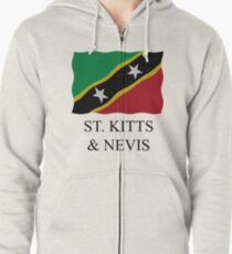 St Kitts and Nevis flag Zipped Hoodie