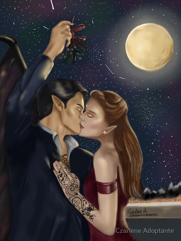 """Feyre and Rhysand Christmas kiss"" Posters by Czarlene ..."