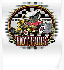 Hot Rods Burning Rubber Poster