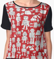 Robot Pattern - Red and White Chiffon Top