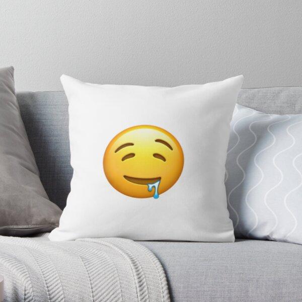Drooling Face Emoji Throw Pillow