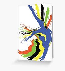 MOTION Gymnastik Olympische Farben Grußkarte