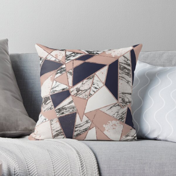 Geometric Navy Blue Peach Marble Rose Gold Triangle Throw Pillow