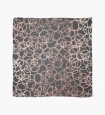 Modern Rose Gold Circles on Charcoal Black Scarf