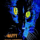 Black Cat Portrait with Happy Halloween Greeting by taiche