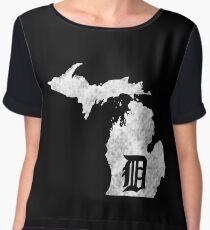 "Detroit Michigan - Motor City, Midwest ""D"" Mitten T-Shirt Chiffon Top"