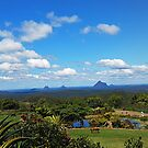 the beautiful Glass House Mountains. by footsiephoto