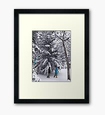 Walking in a Winter Wonderland - Blue Jays and Hikers Snowy Landscape Framed Print