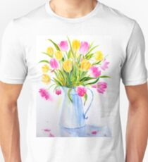 Watercolor vase of tulips T-Shirt