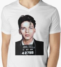 Frank Sinatra Mugshot Colorized Men's V-Neck T-Shirt