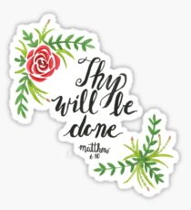 Hand Painted Watercolor Matthew 6:10 Sticker