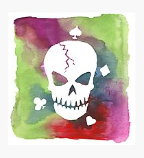 Hand Painted Watercolor Skull Heart Spade Diamond Club Photographic Print