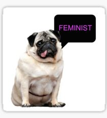 Droopy Feminist Pug Sticker