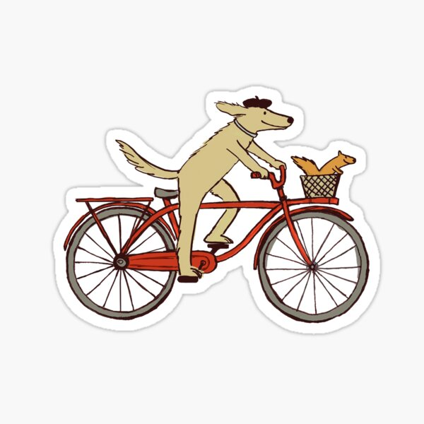 Dog and Squirrel are Friends | Whimsical Animal Art | Dog Riding a Bicycle Sticker