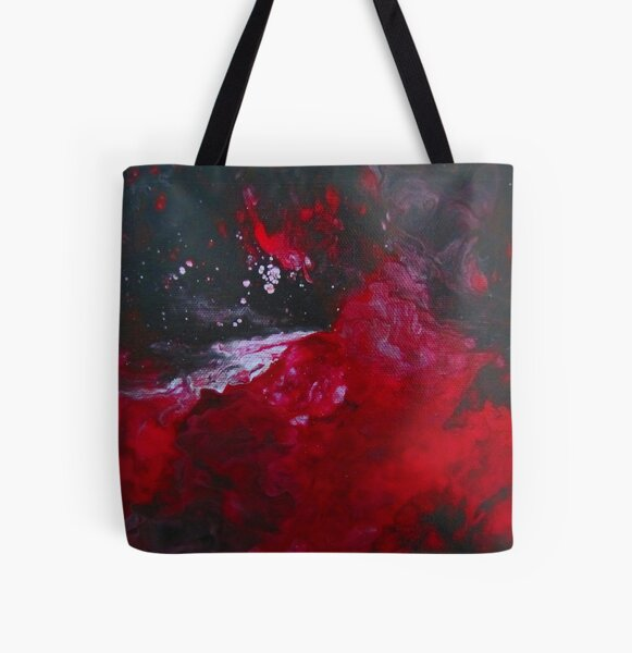 Explosive Bold Red and Black Abstract All Over Print Tote Bag