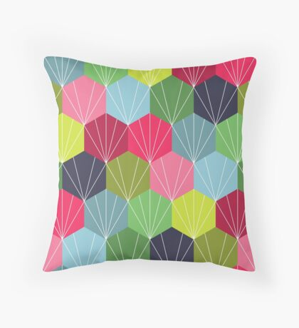 Geometric Hexie Honeycomb Colorful Throw Pillow