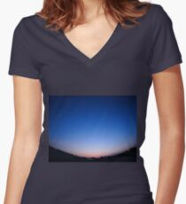 Clear skies over the city after sunset Women's Fitted V-Neck T-Shirt