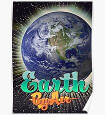 Earth By Air Vintage flight poster  Poster