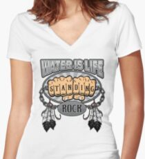 Standing Rock Water is Life Fists NoDAPL Women's Fitted V-Neck T-Shirt