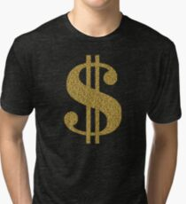 Gold Dollar Sign Tri-blend T-Shirt