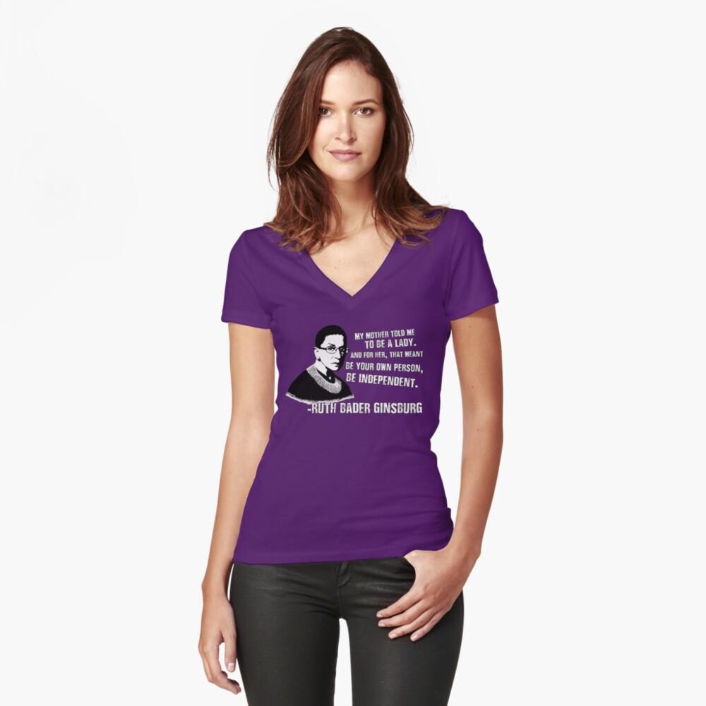 Revolutionäre Frauen: Ruth Bader Ginsburg Tailliertes T-Shirt mit V-Ausschnitt