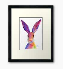 HAPPY HARE 'JELLY BEAN' BY SHIRLEY MACARTHUR Framed Print