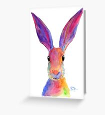 HAPPY HARE 'JELLY BEAN' BY SHIRLEY MACARTHUR Greeting Card