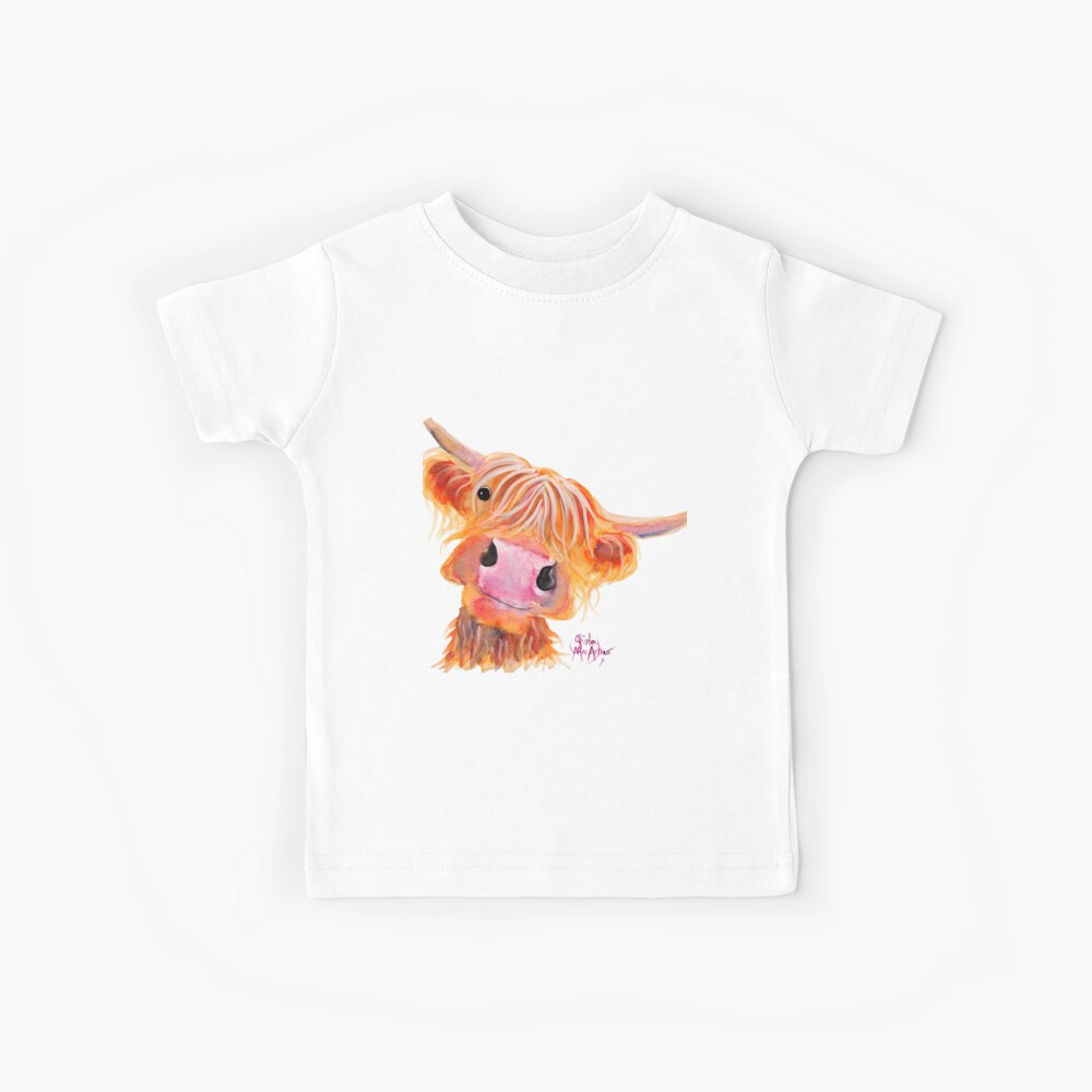 Highland Cow 'NESSIE' from Original Painting by Shirley MacArthur Kids T-Shirt