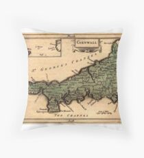 Map Of Cornwall 1850 Throw Pillow