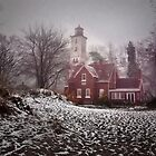 Winter at Presque Isle Light - Erie, PA by Kathy Weaver