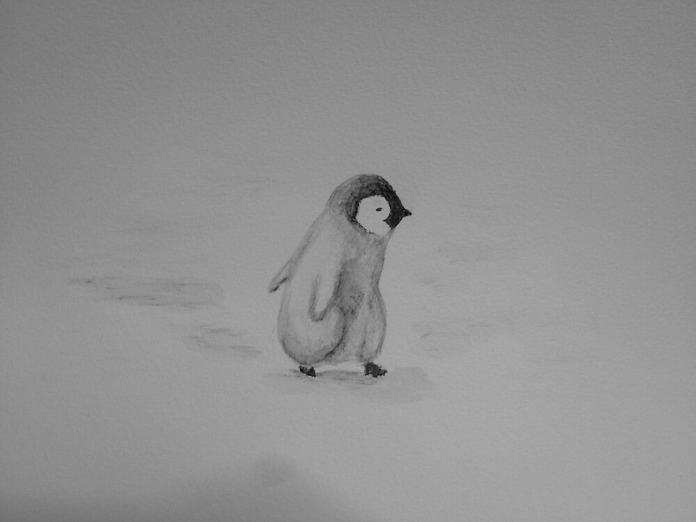 Baby Penguin Black and White Watercolor by dearmoon