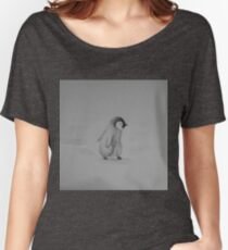 Baby Penguin Black and White Watercolor Women's Relaxed Fit T-Shirt