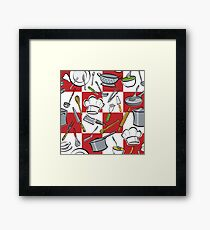 Kitchen Tools Checkerboard Framed Print