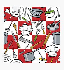Kitchen Tools Checkerboard Photographic Print