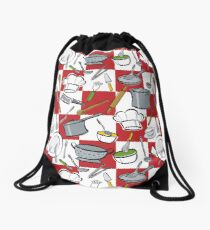 Kitchen Tools Checkerboard Drawstring Bag