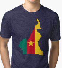 Cameroon Flag Map Tri-blend T-Shirt